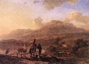 BERCHEM, Nicolaes Italian Landscape at Sunset oil painting reproduction